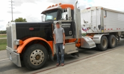 Earliest Harvest Truck (September 5, 2012) - setting a new record at DENCO II. Pictured is Chris Charles hauling for Evan Anderson.